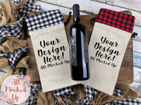TWO Wine Bags Red/Black and White/Black Plaid Wine Bag Mock Up MockUp Image Wine Gift Bag Mock Up - Flat Lay Image - Flatlay - Styled Mock Up - 12/20