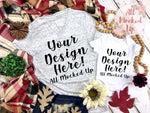 Bella Canvas 3005 White Marble V-Neck T-shirt Tshirt Mock Up and Baby Bodysuit MockUp Image - Sublimation Mock UP - Halloween Fall Theme - Flat Lay Image - Flatlay -  8/19