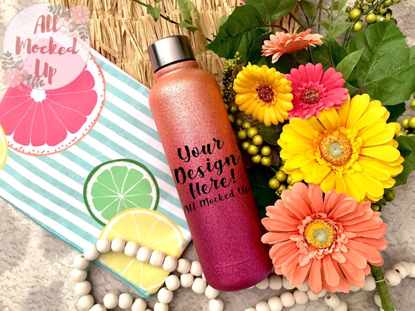 Orange / Pink Glitter Stainless Steel Water Bottle Mock Up MockUp Image  - Flat Lay Image - Flatlay -  7/20