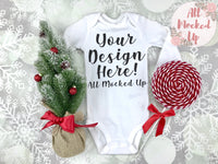 Carter's LONG Sleeve Shirt Bodysuit Mock Up MockUp Image  - CHRISTMAS / HOLIDAY Mock UP -  Flat Lay Image - Flatlay - Styled Mock Up - 10/19