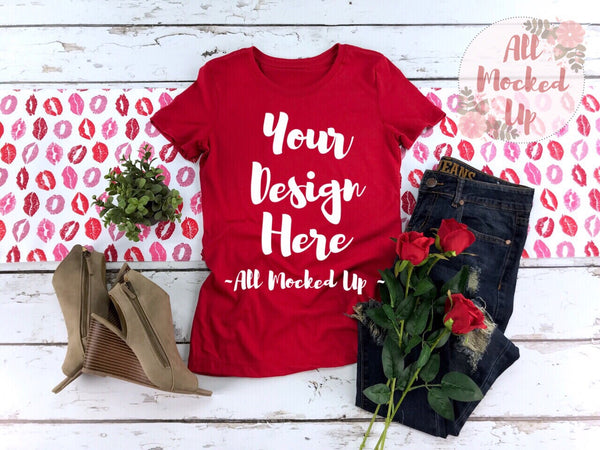 Next Level 1510 Women's Red T-shirt Tshirt Mock Up MockUp Image  - Flat Lay Image - Flatlay -  1/19