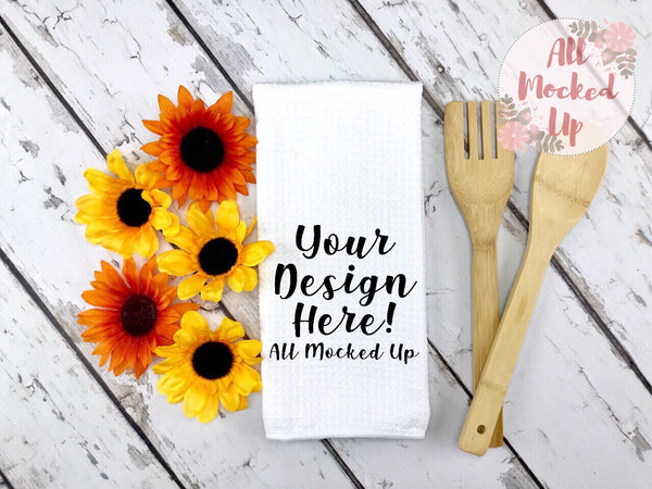 Waffle Weave Kitchen Towel Mock Up MockUp Image  - Sublimation Mock UP -  Flat Lay Image - Flatlay - Styled Mock Up - 7/19