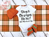 ARB Blanks Baby GOWN Shirt Sublimation Mock Up MockUp Image  - Fall Mock UP -  Flat Lay Image - Flatlay - Styled Mock Up - 9/19