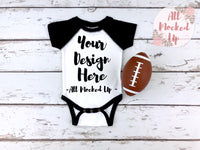 Rabbit Skins 4430 White / Black Raglan Infant Bodysuit T-shirt Tshirt Mock Up MockUp Image  - Flat Lay Image - Flatlay - 1/19