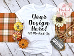 Bella Canvas 3001 3413 White T-shirt Tshirt Mock Up MockUp Image  - Fall Theme - Flat Lay Image - Flatlay -  9/19