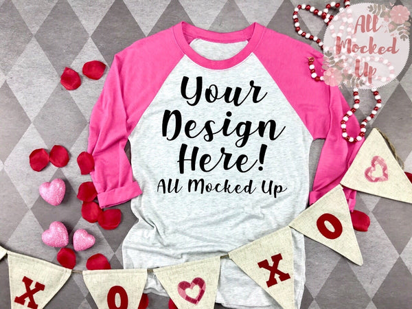 Next Level 6051 Adult Raglan PINK SLEEVE T-shirt Tshirt Mock Up MockUp Image  - Valentine's Day Theme -  Flat Lay Image - 1/20