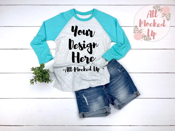 Next Level 6051 Adult Raglan Turquoise Sleeve T-shirt Tshirt Mock Up MockUp Image  - Flat Lay Image - 2/19