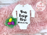 KAVIO I1C0589 Easter Themed Long Sleeve Sunflower Neckline Girls Infant White T-shirt Tshirt Mock Up MockUp Image - Flat Lay Image - Flatlay 2/19