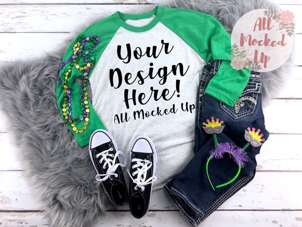 Next Level 6051 Green Sleeve T-shirt Tshirt Mock Up MockUp Image  - Flat Lay Image - Flatlay -  Mardi Gras - 1/19