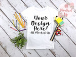 Next Level 3710 Girls White T-shirt Tshirt Mock Up MockUp Image  - Shirt Mock Up - Back to School - Flat Lay Image - Flatlay -  7/19