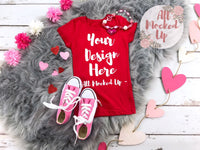 Next Level 3710 Youth Red T-shirt Tshirt Mock Up MockUp Image  - Flat Lay Image - Flatlay -  1/19