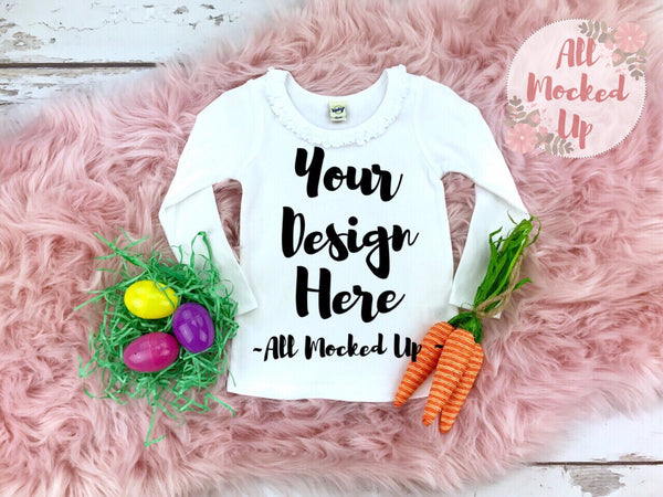 KAVIO P1C0588 or I1C0588 Easter Themed Long Sleeve Sunflower Neckline Girls White T-shirt Tshirt Mock Up Image - Flat Lay Image - 2/19
