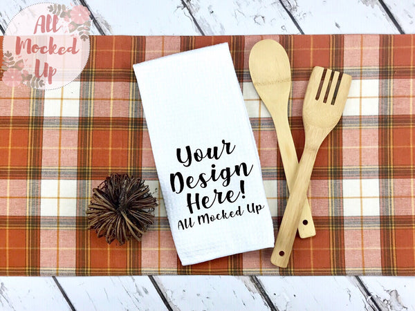 Waffle Weave Kitchen Towel Mock Up MockUp Image  - Sublimation Mock UP - Fall Theme -  Flat Lay Image - Flatlay - Styled Mock Up - 9/19