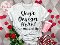 Bella Canvas 3413 White Fleck T-shirt Tshirt Mock Up MockUp Image  - Valentine's Day Theme - Flat Lay Image - Flatlay -  1/20