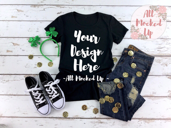 Next Level 1510 Women's Black T-shirt Tshirt Mock Up MockUp Image  - Flat Lay Image - Flatlay -  1/19