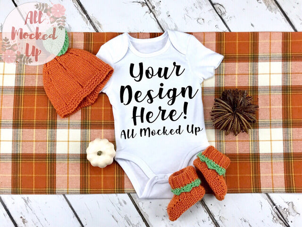 ARB Blanks Baby Bodysuit Shirt Sublimation Mock Up MockUp Image  - Fall Mock UP -  Flat Lay Image - Flatlay - Styled Mock Up - 9/19