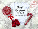 ARB Blanks Ruffle Sleeve Baby Bodysuit Shirt Sublimation Mock Up MockUp Image  - CHRISTMAS / HOLIDAY Mock UP -  Flat Lay Image - Flatlay - Styled Mock Up - 10/19