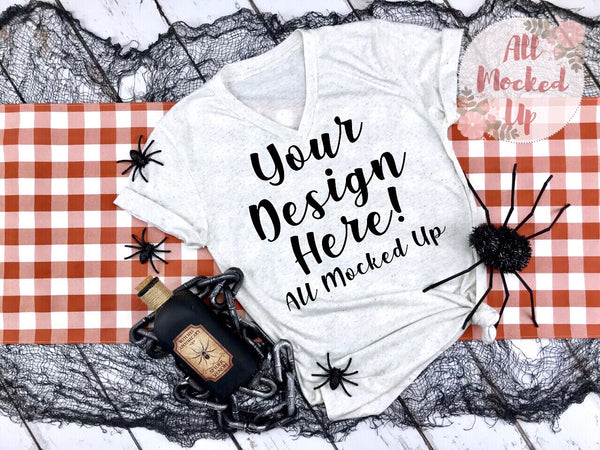 Bella Canvas 3005 Oatmeal V-Neck T-shirt Tshirt Mock Up MockUp Image  - Halloween Fall Theme - Flat Lay Image - Flatlay -  8/19