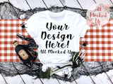 Bella Canvas 3001 3413 White T-shirt Tshirt Mock Up MockUp Image  - Halloween Fall Theme - Flat Lay Image - Flatlay -  8/19