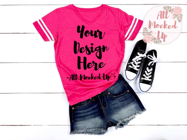 LAT Apparel 3537 PINK Women's Football Jersey T-shirt Tshirt Mock Up MockUp Image  - Flat Lay Image - Flatlay - 4/19