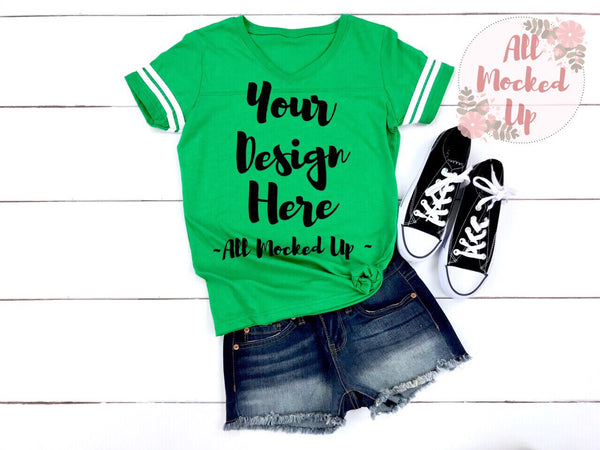LAT Apparel 3537 GREEN Women's Football Jersey T-shirt Tshirt Mock Up MockUp Image  - Flat Lay Image - Flatlay - 4/19