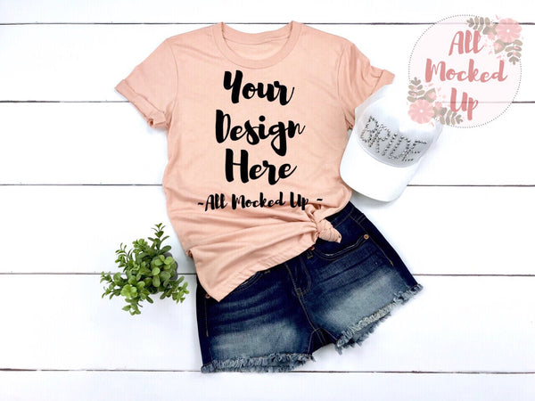 Bella Canvas 3001 or  3413 Peach T-shirt Tshirt Mock Up MockUp Image  - Flat Lay Image - Flatlay - Wedding Bride Bachelorette Theme 3/19