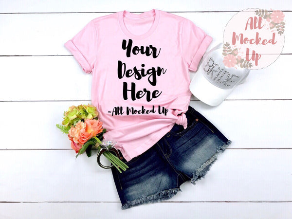 Bella Canvas 3001 PINK T-shirt Tshirt Mock Up MockUp Image  - Flat Lay Image - Flatlay - Wedding Bride Bachelorette Theme  3/19