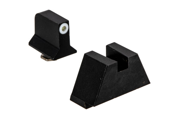 Night Fision - Perfect Dot Suppressor Height Night Sight Set for Standard GLOCK - Square Notch - White/Blank - Tritium