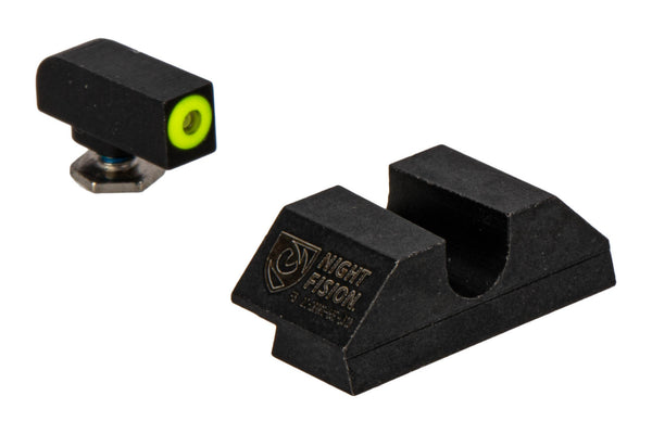 Night Fision - Perfect Dot Night Sight Set for Standard GLOCK - U Notch - Yellow/Blank - Tritium