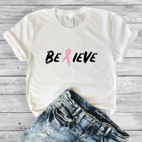 Breast Cancer Awareness Believe Tee