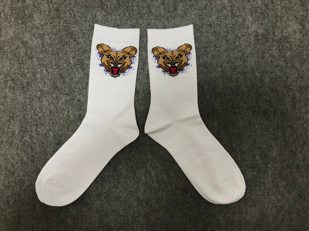 Wild Dog Socks White (Purple) Splash