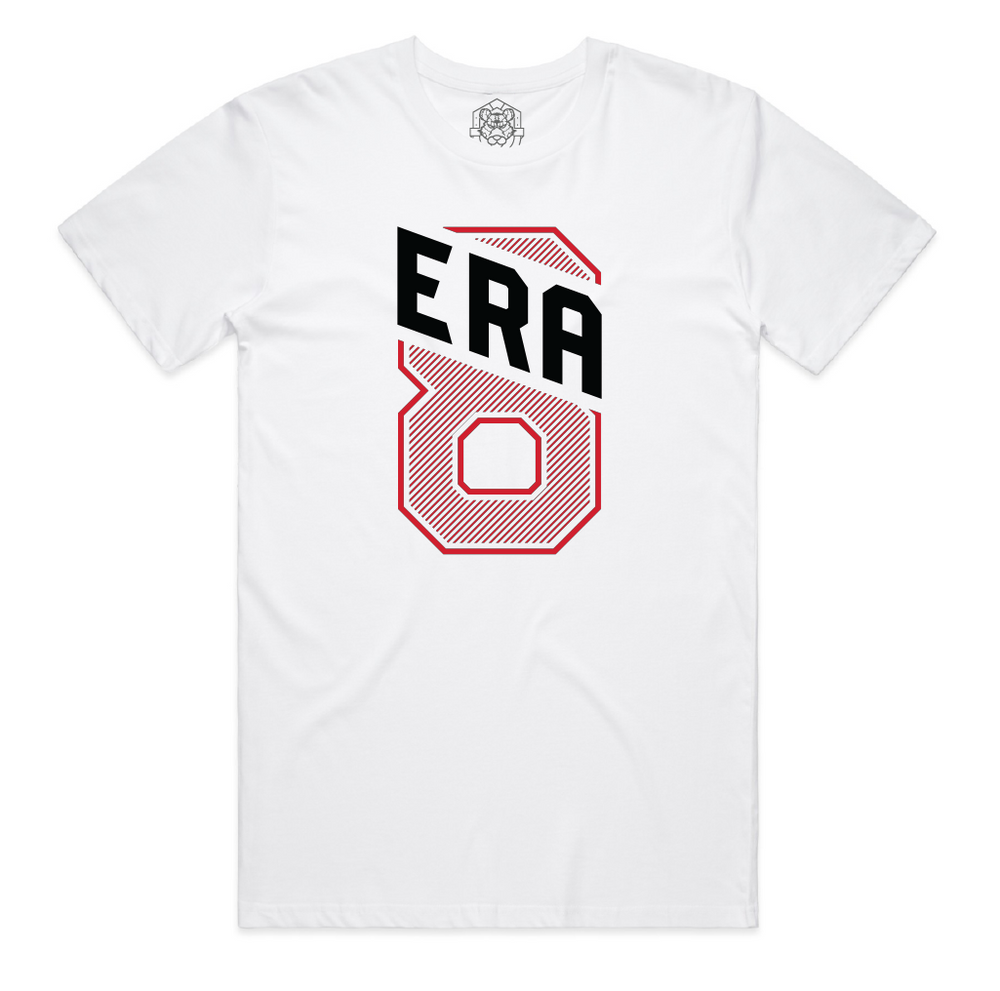 """ERA8 Slant"" Staple Tee (White/Red)"