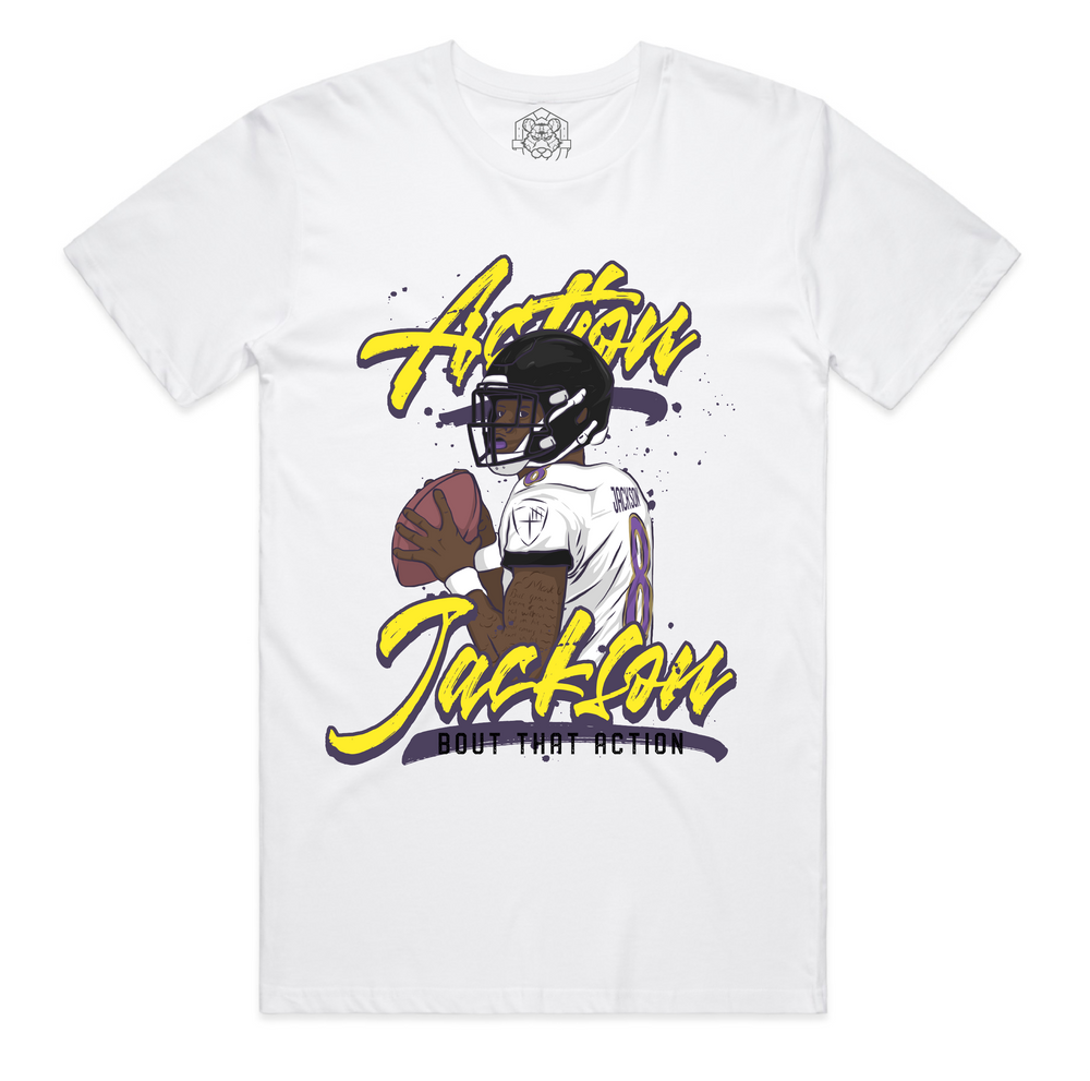 """Action Jackson Script"" Staple Tee - White"
