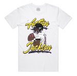 """Action Jackson Script"" White Staple Tee"