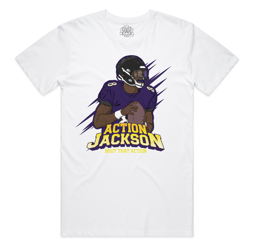 """Action Jackson Athletic"" White Staple Tee"