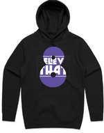 """Believe That"" Black Hooded Pullover Sweatshirt (White, Purple + Black)"