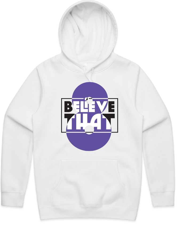 """Believe That"" White Hooded Pullover Sweatshirt (Black + Purple)"