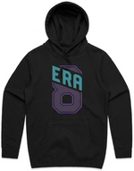 """Era 8 Slant"" Black Hooded Pullover Sweatshirt (Purple/Teal)"