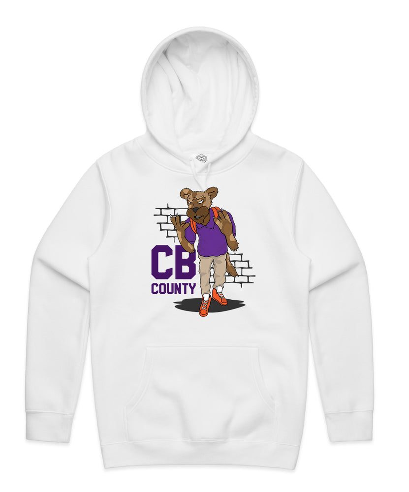 """CB Goon"" White Hooded Pullover Sweatshirt"