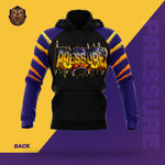 """Pressure"" Purple/Black Hooded Pullover Sweatshirt - Flip-Hoodie"