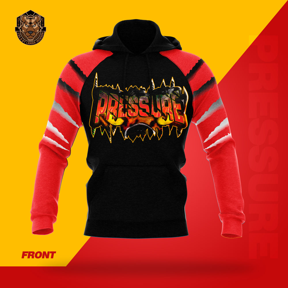 """Pressure"" Red/Black Hooded Pullover Sweatshirt"