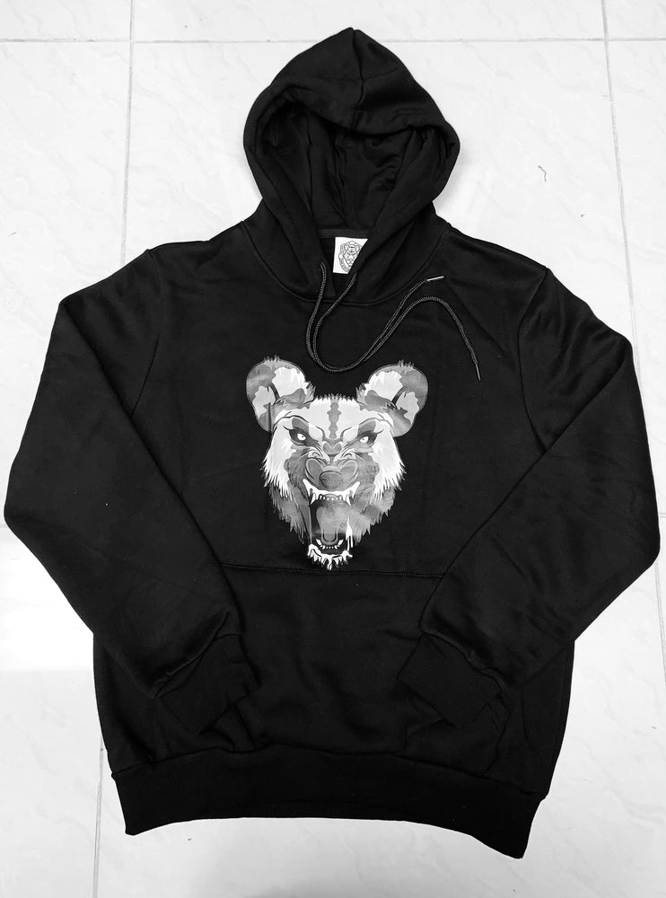 Limited Edition Hooded Pullover Sweatshirts Wild Dog-Black on Black