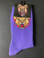 Wild Dog Socks (Purple) Red Splash