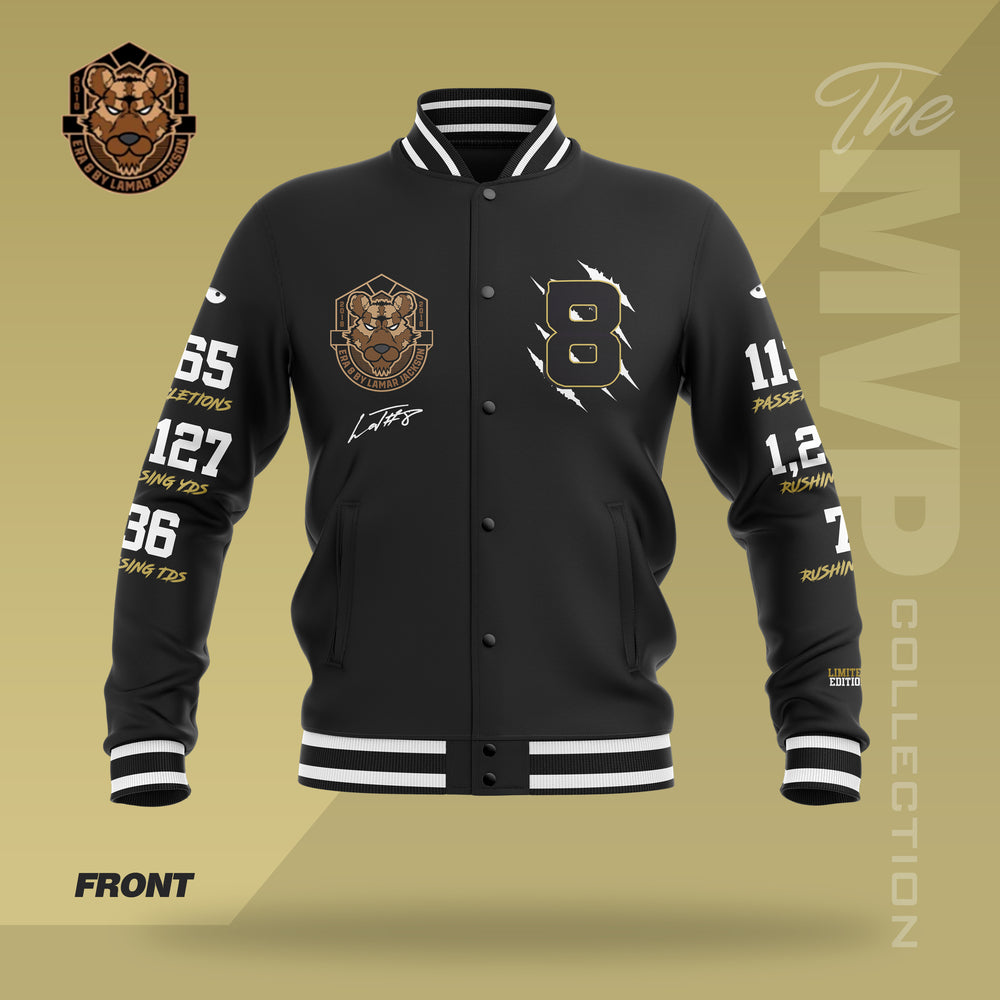 Limited Edition 2019 MVP Lamar Jackson Letterman Jacket (BLACK/BLACK)
