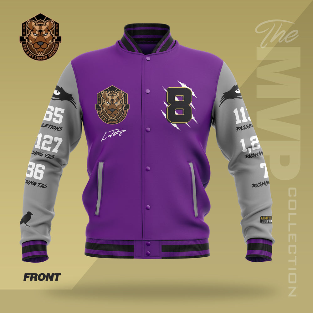 Limited Edition 2019 MVP Lamar Jackson Letterman Jacket  (PURPLE/GREY)