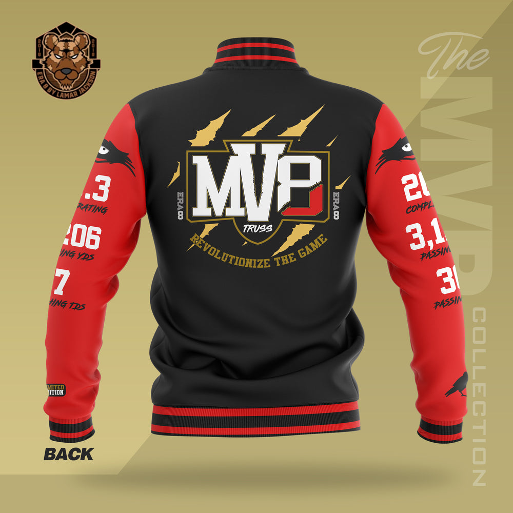 Limited Edition 2019 MVP Lamar Jackson Letterman Jacket (RED/BLACK)