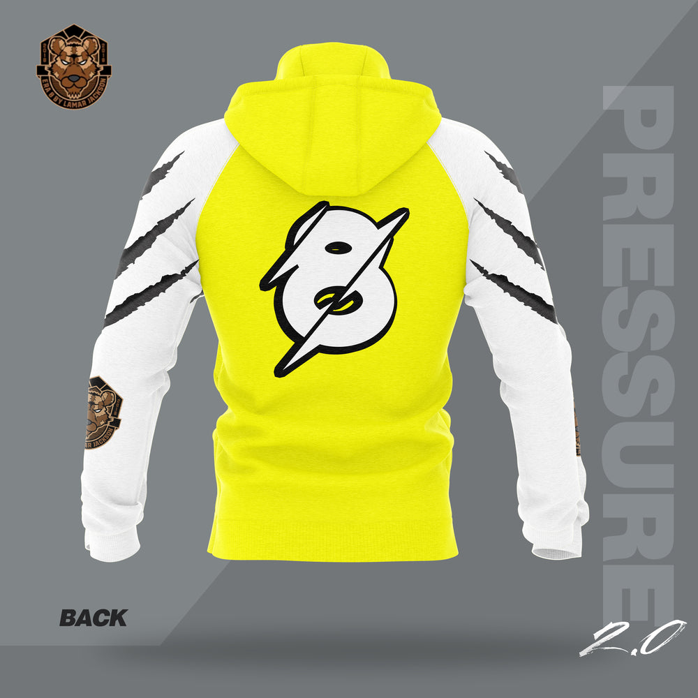 """Pressure 2.0"" Yellow/White Hooded Pullover Sweatshirt"