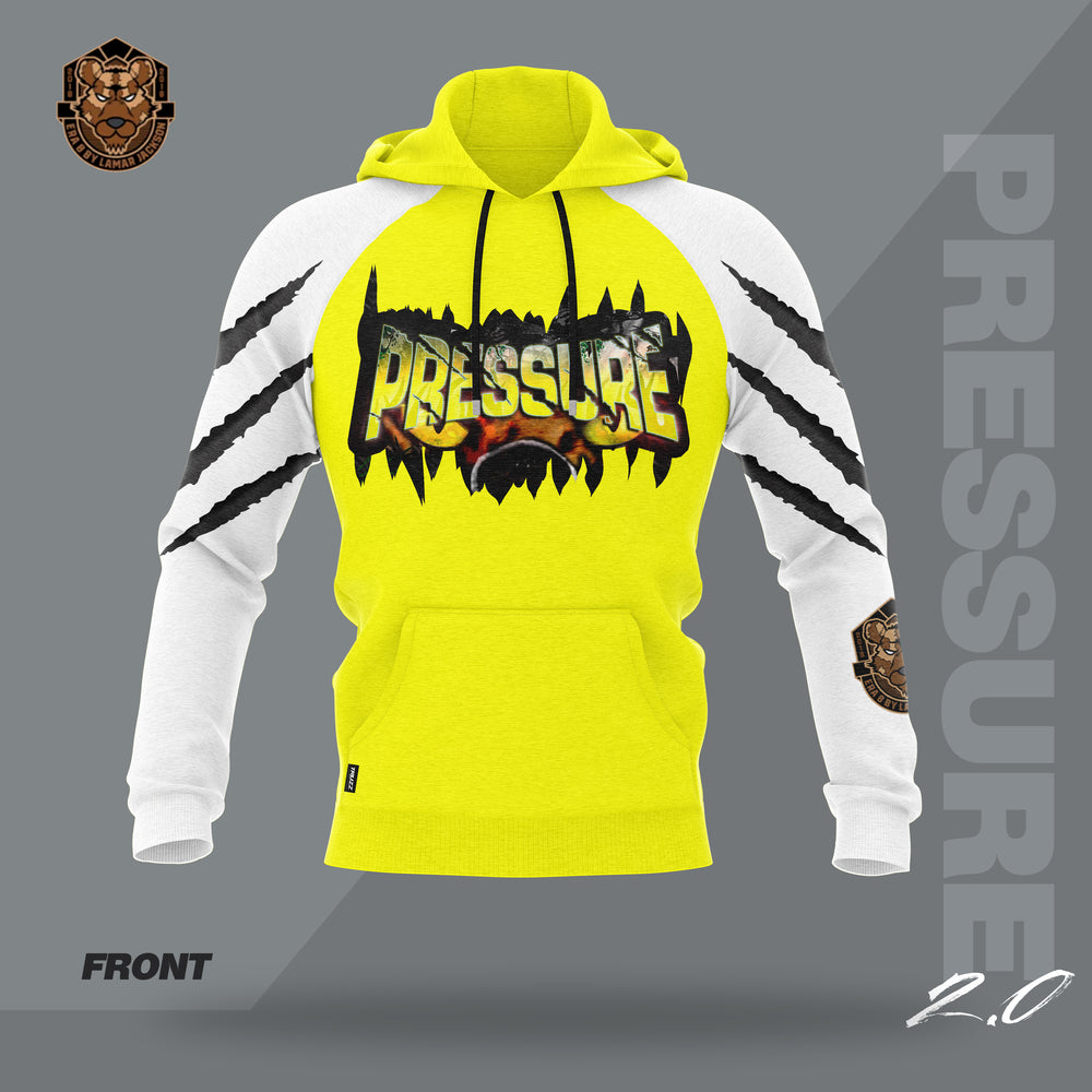 """Pressure 2.0"" YOUTH Yellow/White Hooded Pullover Sweatshirt - Flip-Hoodie"