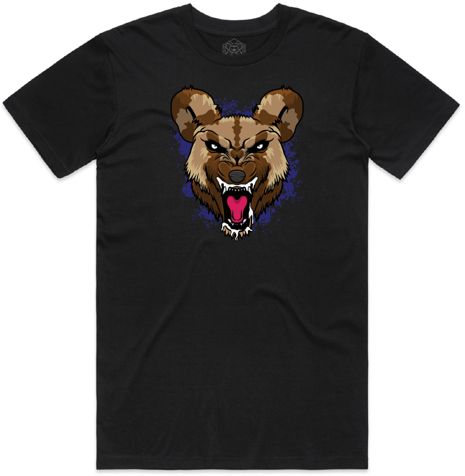 """WILD DOG"" SHORT SLEEVE BLACK SHIRT (Purple)"