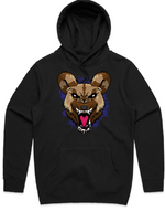 """WILD DOG"" HOODED PULLOVER BLACK SWEATSHIRT (Purple)"